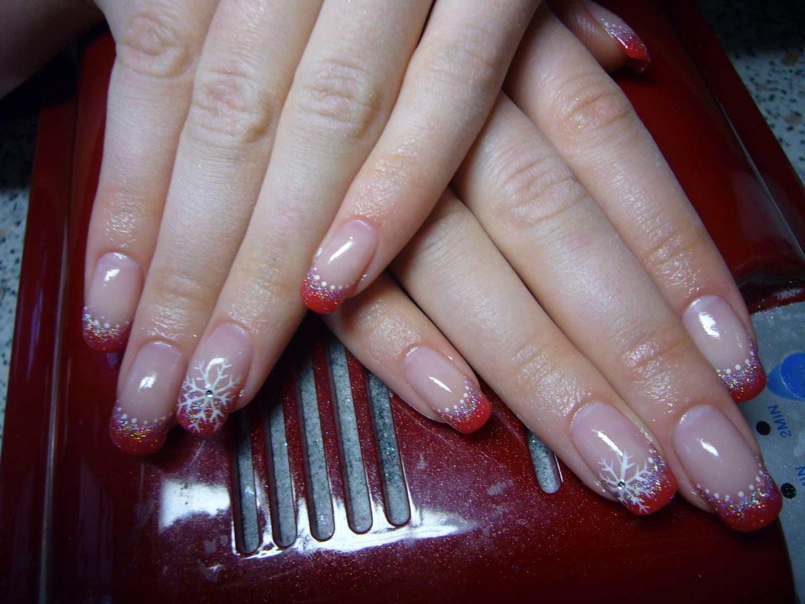 Дизайн ногтей френч новогодний фото